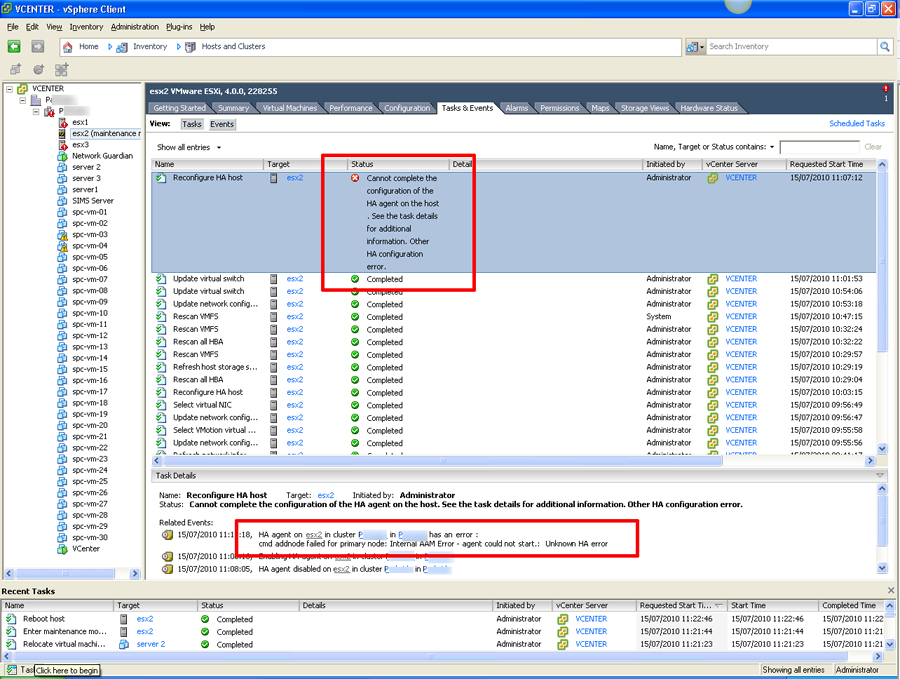 "VMware ESX Error ""cmd addnode failed for primary node: Internal AAM error"""