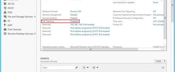 Windows Server 2012 R2'de NIC Teaming Kurulumu