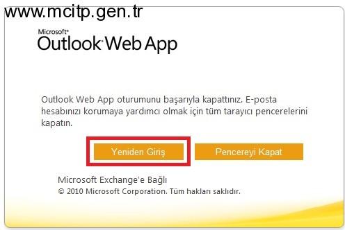 Exchange Server 2010 Oturumu Kapat Denildiğinde Yeniden Giriş Butonunun Eklenmesi