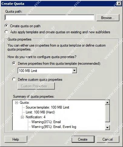 Genel Windows Server 2008 Disk Kotaları Bölüm2