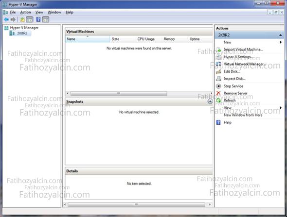 Windows 7 üzerinde Hyper-V Remote Management Tools Kurulumu