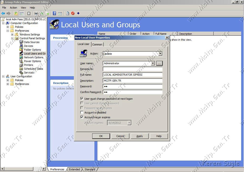 GPO ile Local Admin Şifresi Değiştirme