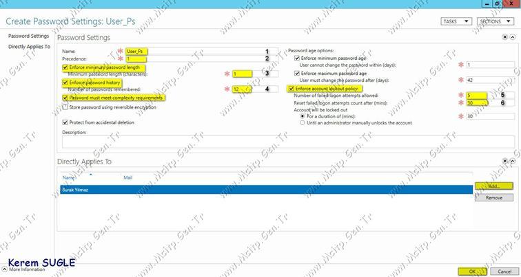 Microsoft Server 2012 Fine Grained Password Policy