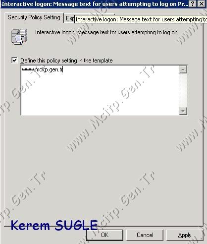 Gpo ile Logon Ekranına Mesaj Belirleme